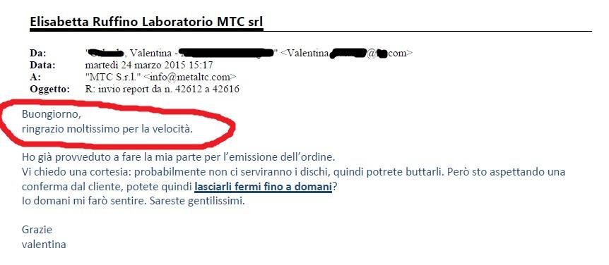 email ringraziamento Valentina