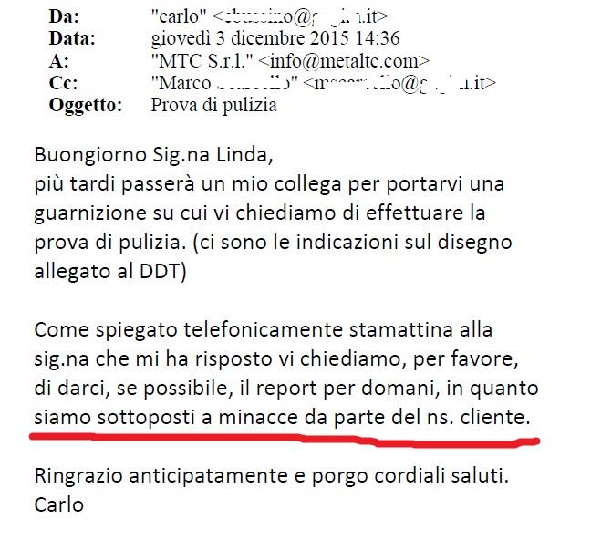 email cliente minacciato
