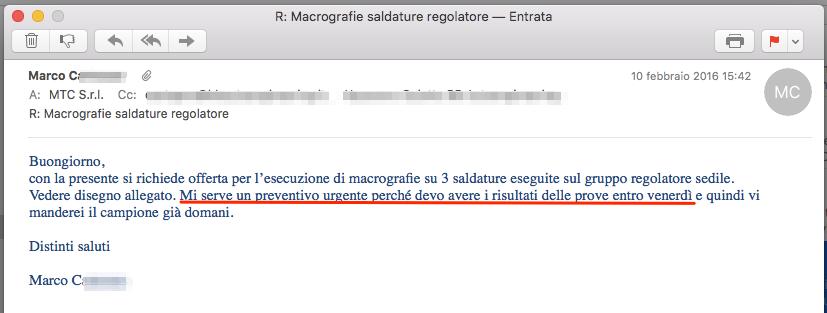 email richiesta macrografie urgenti