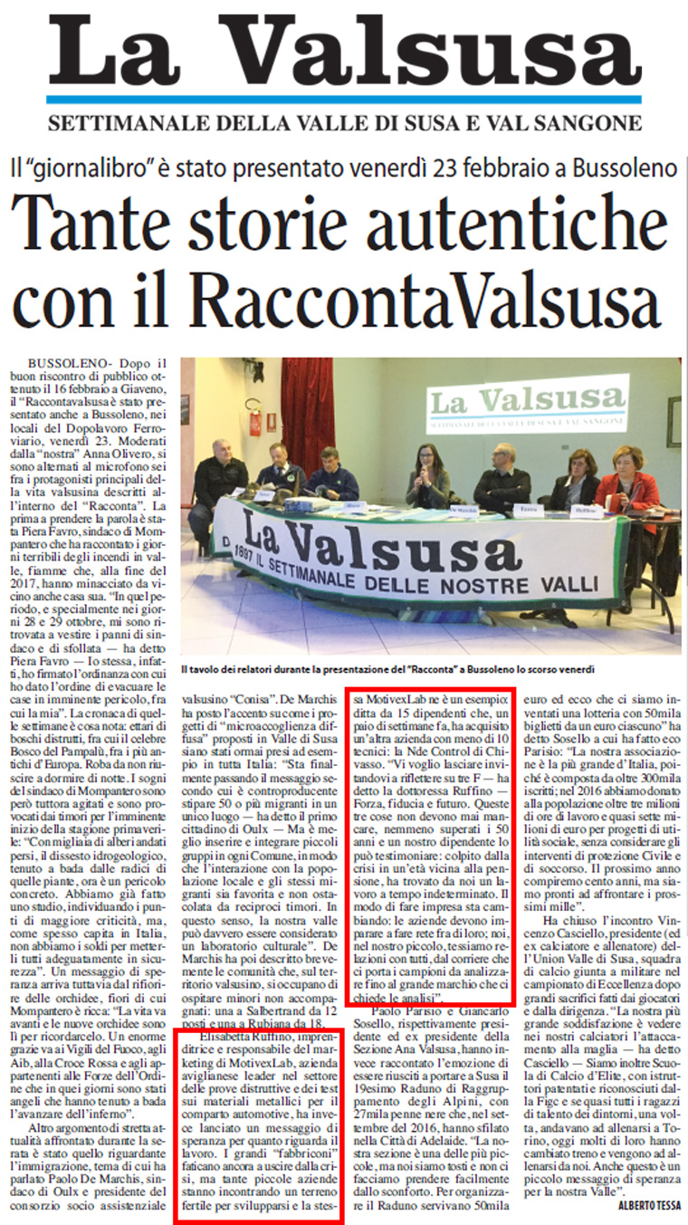 Raccontavalsusa, 23 Febbraio 2018